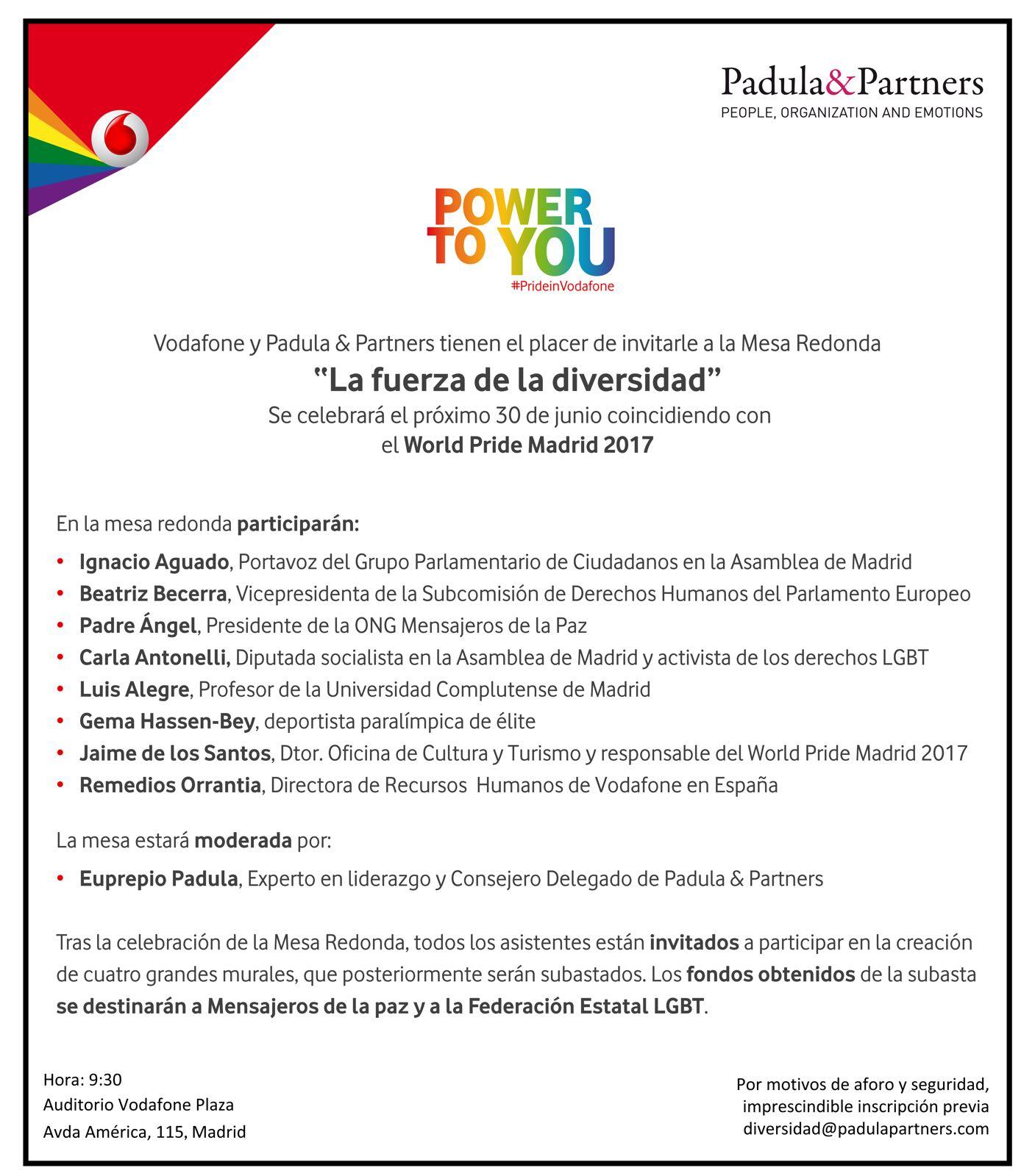 """Invitación a la Mesa Redonde """"La fuerza de la diversidad"""". 30 de junio a las 9.30 horas"""